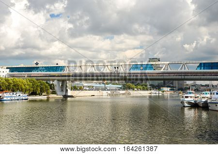 MOSCOW, RUSSIA - August 4, 2016. Commerce and pedestrian bridge Bagration