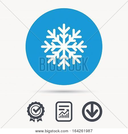 Snowflake icon. Air conditioning symbol. Achievement check, download and report file signs. Circle button with web icon. Vector