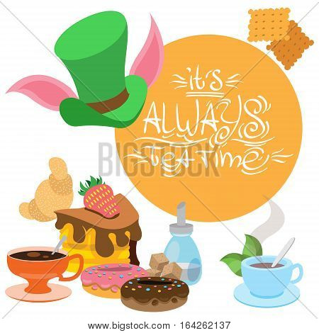 Illustration to the fairy tale Alice's Adventures in Wonderland. Sweets and pastries. Green hat and treats. Template background with space for text.
