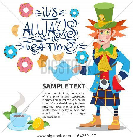 Hatter with a teapot. Illustration to the fairy tale Alice's Adventures in Wonderland. Template with place for text for design.