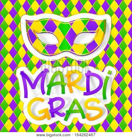 Green, yellow and violet colors vector carnival mask with colorful Mardi Gras lettering on traditional diamond pattern