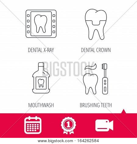 Achievement and video cam signs. Dental crown, x-ray and brushing teeth icons. Mouthwash linear sign. Calendar icon. Vector