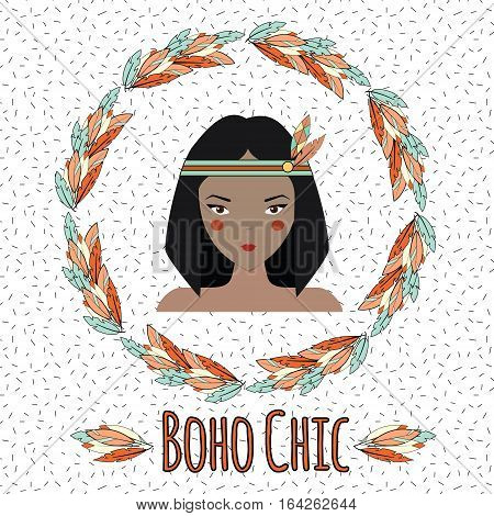 Boho indian girl and feather wreath in hand drawn style. Tribal, ethnic boho chic inspirational vector illustration