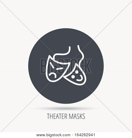 Theater masks icon. Drama and comedy sign. Masquerade or carnival symbol. Round web button with flat icon. Vector
