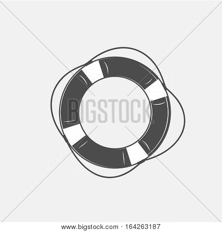 vector illustration of the lifebuoy in black and white in the old-fashioned style and lineart style.