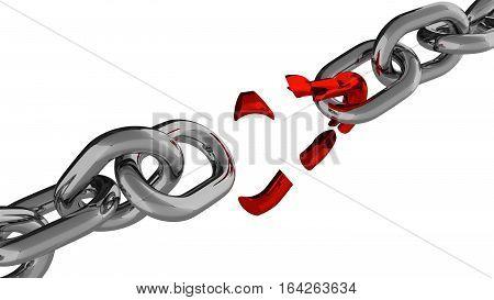 Chain With Broken Red Element 3D Rendering