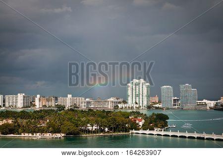 Rainbow over South Miami beach and Star Island