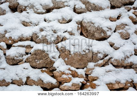 Stone Wall Detail, Covered with White Snow