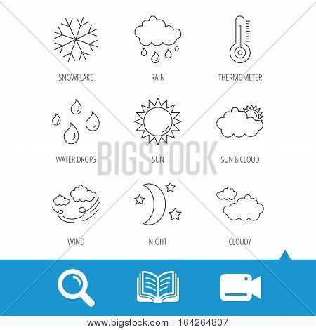 Weather, sun and rain icons. Moon night, clouds and water drops linear signs. Wind, snowflakes and thermometer flat line icons. Video cam, book and magnifier search icons. Vector