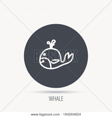 Whale icon. Largest mammal animal sign. Baleen whale with fountain symbol. Round web button with flat icon. Vector