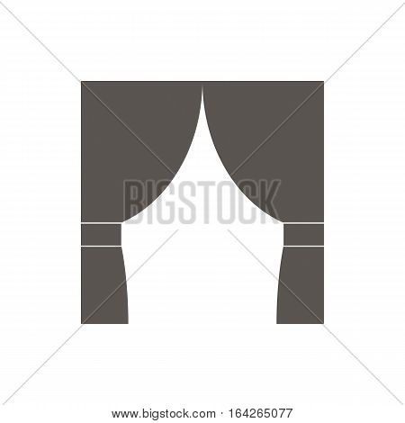 Icon curtains vector illustration. Dark outline on a white background.