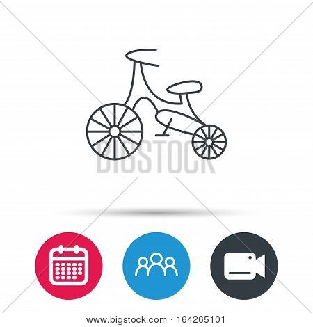 Bike icon. Kids run-bike sign. First bike transport symbol. Group of people, video cam and calendar icons. Vector