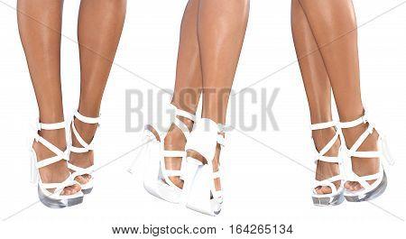 Set beautiful female legs in white sandals high heels. Sexy slim female legs. Seductive pose. Conceptual fashion art. 3D render illustration. Isolate.