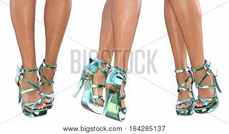 Set beautiful female legs in emerald virid sandals high heels. Sexy slim female legs. Seductive pose. Conceptual fashion art. 3D render illustration. Isolate.