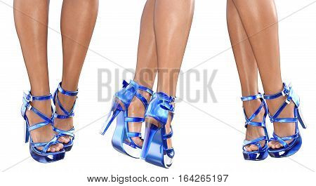 Set beautiful female legs in blue sandals high heels. Sexy slim female legs. Seductive pose. Conceptual fashion art. 3D render illustration. Isolate.