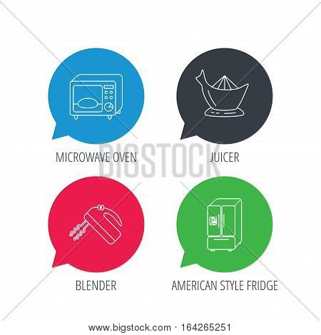 Colored speech bubbles. Microwave oven, American style fridge and blender icons. Juicer linear sign. Flat web buttons with linear icons. Vector