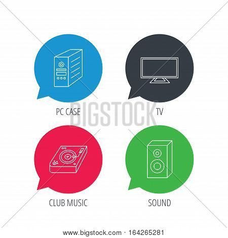 Colored speech bubbles. Sound, club music and pc case icons. TV linear sign. Flat web buttons with linear icons. Vector