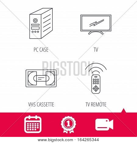 Achievement and video cam signs. TV remote, VHS cassette and PC case icons. Widescreen TV linear sign. Calendar icon. Vector