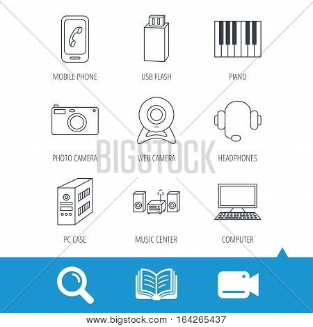 Photo camera, headphones and Usb flash icons. PC case, computer with monitor and web camera linear signs. Piano icons. Video cam, book and magnifier search icons. Vector
