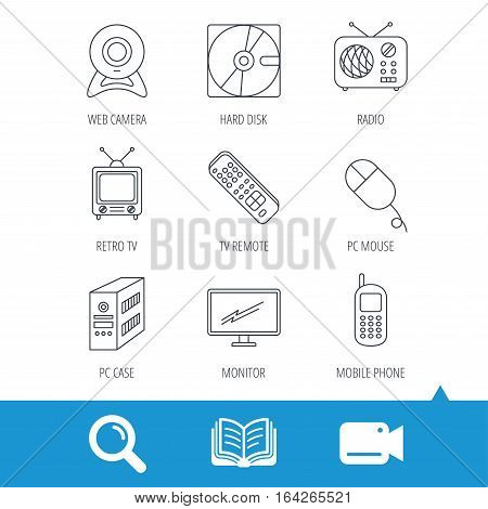 Web camera, radio and mobile phone icons. Monitor, PC case and TV remote linear signs. Hard disk and PC mouse icons. Video cam, book and magnifier search icons. Vector