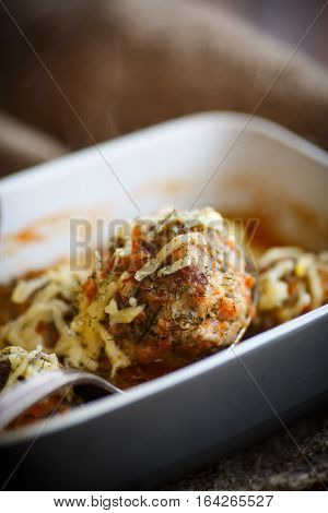 steamed meatballs tangled meat with carrots and vegetables