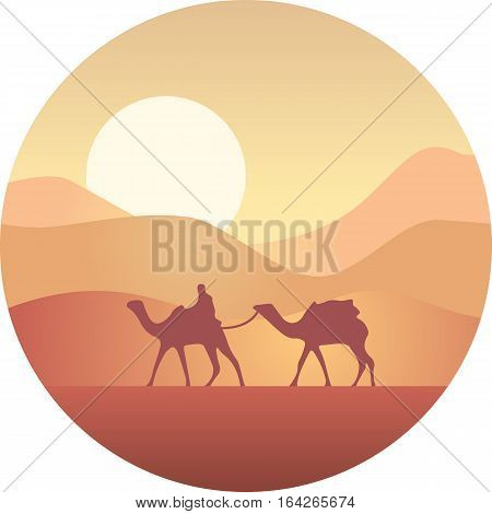 Bedouin leading a caravan of camels in the desert at sunset.