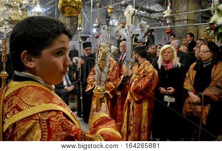 Bethlehem, Palestine. January 7Th 2017: Orthodox Christmas Midnight Mass At The Church Of Nativity I