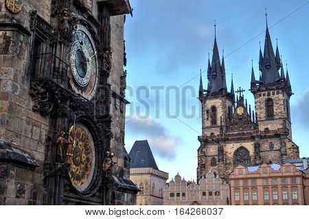 Old Town Square in Prague with astronomical clock and the tower of the church suitable as a magnet or memory