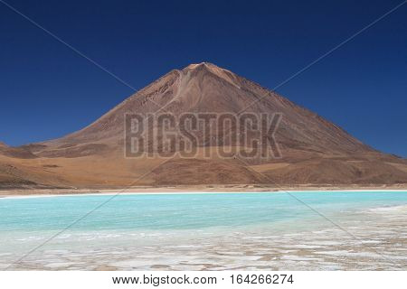 Laguna Verde in front of the Licancabur volcano Altiplano Bolivia
