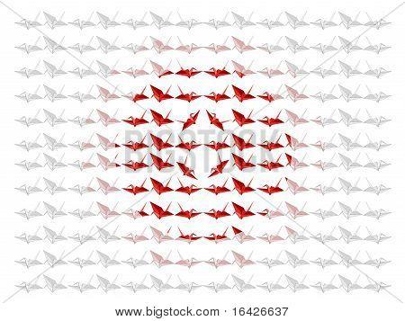 Japanese Origami Paper Crane Flag