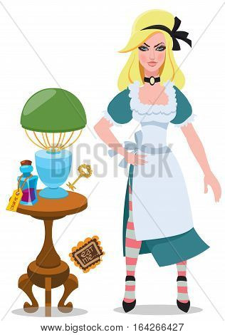 Alice beside the table with magical objects and elixir. Illustration to the fairy tale Alice's Adventures in Wonderland.