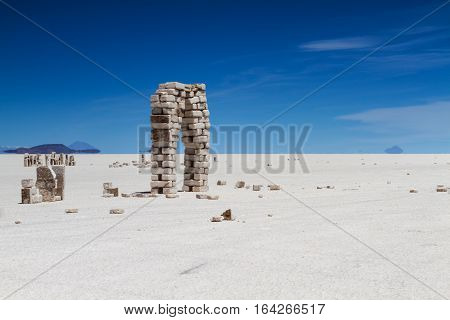 Salt bricks at Salar de Uyuni Altiplano Bolivia
