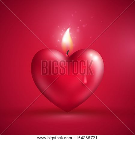 Valentine's day concept. Vector illustration. Red heart shape candle on pink background. Love symbol. Dripping wax