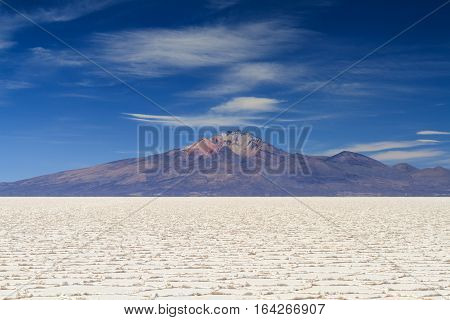 Salar de Uyuni in front of the Tunupa volcano Altiplano Bolivia