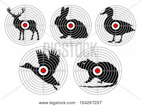 set targets for animal shooting. Training hunting. vector