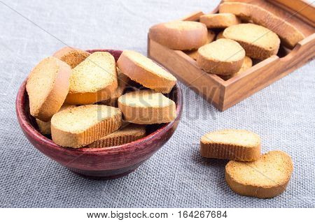 View Close-up On Slices Of Dried Bread