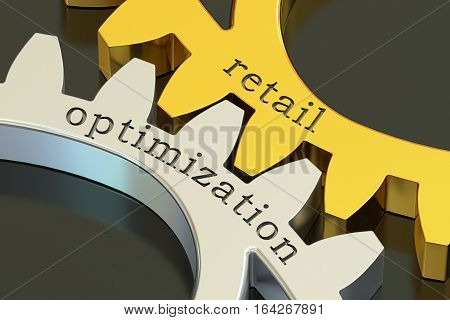 retail optimization concept on the gearwheels 3D rendering