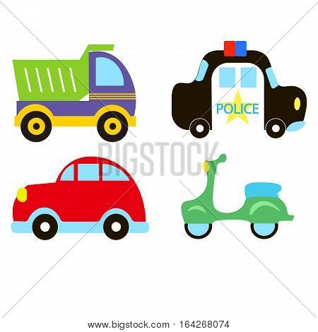Vector Transportation Theme With Car, Police Car, Moped, Truck, Vintage Car. A Set Of Cute And Color