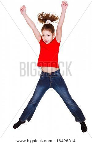 Girl in red t-shirt jumping