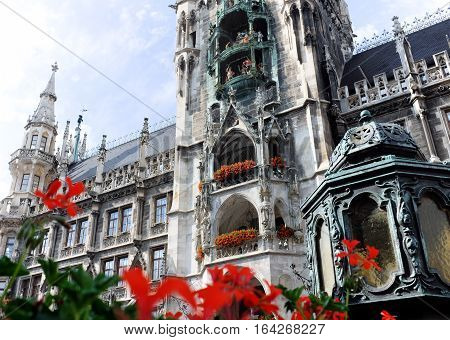 The Munich Town Hall is the centerpiece of its architectural marvels.  The ornate facade is accentuated by the Glockenspiel in the center.