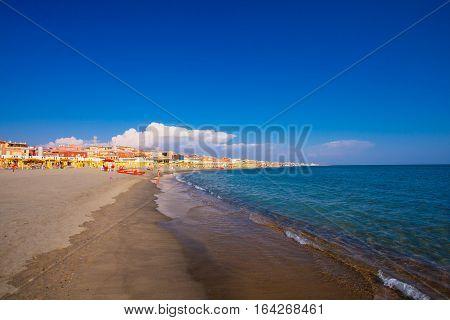 Lido di Ostia ITALY - September 14 2016: View on the beautiful beach Lido di Ostia ( Lido di Roma) private beach Salvataggio Italy.