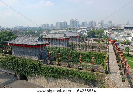 Zhonghua Gate (Gate of China), Nanjing, Jiangsu Province, China. It is the southern gate of Nanjing city. It is a the city gate with the most complex structure in the world.