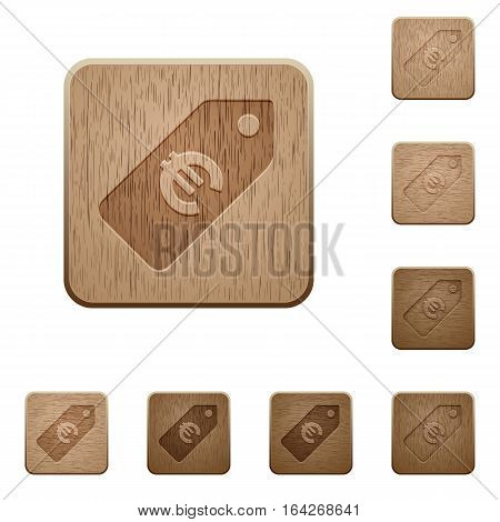 Euro price label on rounded square carved wooden button styles