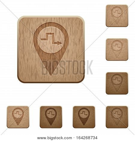 Route planning on rounded square carved wooden button styles