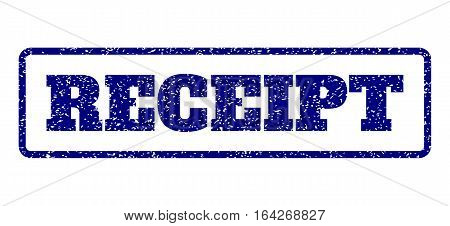 Navy Blue rubber seal stamp with Receipt text. Vector caption inside rounded rectangular frame. Grunge design and dust texture for watermark labels. Horisontal emblem on a white background.