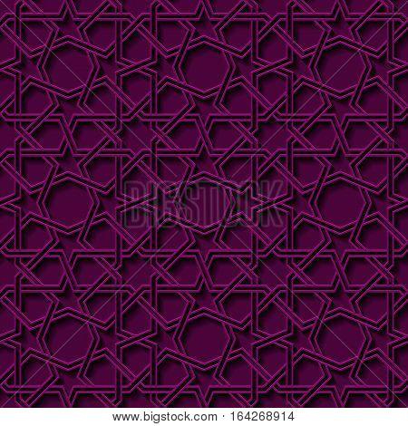 violet mosaic moroccan zellige seamless background. vector illustration