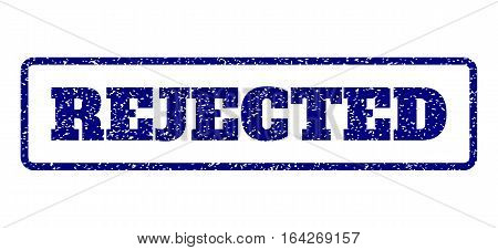 Navy Blue rubber seal stamp with Rejected text. Vector tag inside rounded rectangular banner. Grunge design and scratched texture for watermark labels. Horisontal sign on a white background.