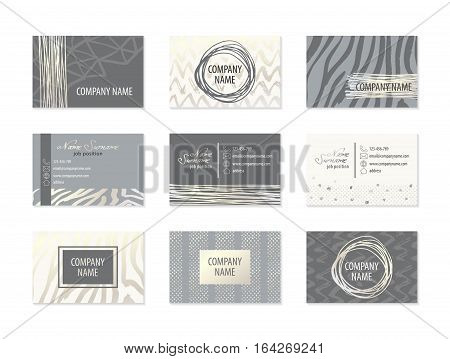 Set of Business Cards with hand drawn design elements made with ink in gray and white colors. Modern abstract style for identity design. Vector illustration.