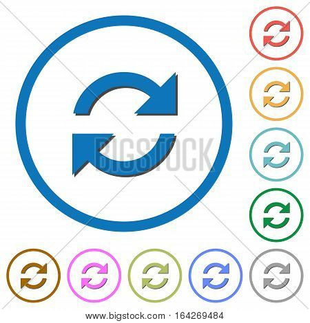 Refresh arrows flat color vector icons with shadows in round outlines on white background