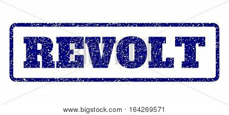 Navy Blue rubber seal stamp with Revolt text. Vector tag inside rounded rectangular banner. Grunge design and dirty texture for watermark labels. Horisontal sticker on a white background.